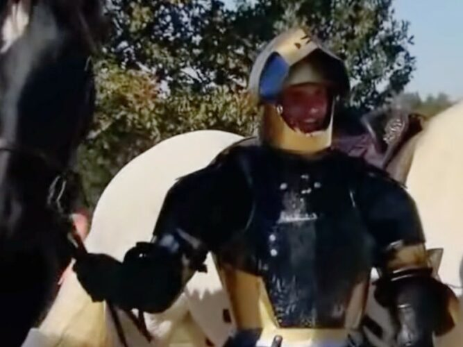 Landon Morris and his horse, shortly after he punched the horse in the head after it stepped on his foot on Full Metal Jousting