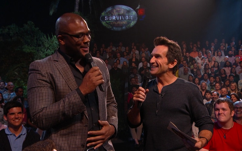 Tyler Perry and Jeff Probst discussion Tyler Perry's contribution to Survivor Cagayan during its live reunion