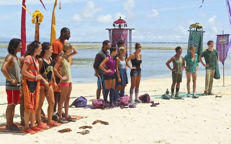 Survivor Cagayan's Brains, Brawn, and Beauty tribes are shuffled and merged into two tribes on episode 4,