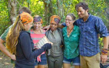 Morgan McLeod, Spencer Bledsoe, Sarah Lacina, Tasha Fox, Kass McQuillen, and Jeremiah Woo during Survivor Cagayan episode 6, the merge episode