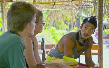 "Spencer Bledsoe, Kass McQuillen, and Woo Hwang talk during Survivor Cagayan episode 11, ""Havoc to Wreak."""
