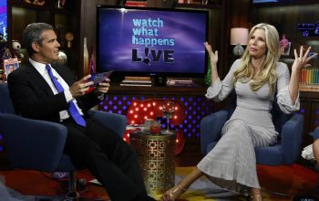 Andy Cohen and Aviva Drescher on Watch What Happens Live June 25, 2014. (Photo by Peter Kramer/Bravo)