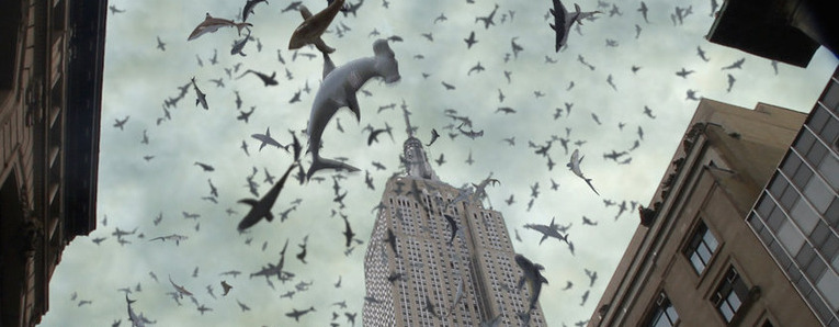 Sharks and the, Empire State Building, of course. (Photo by Syfy)