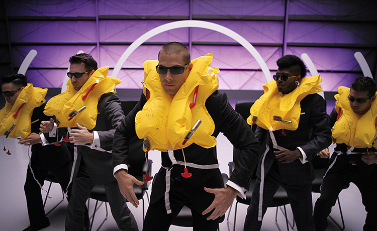 Mike Song, Christopher Scott, Chadd Smith, Cyrus Spencer, and Justin Valles in Virgin America's new safety video.