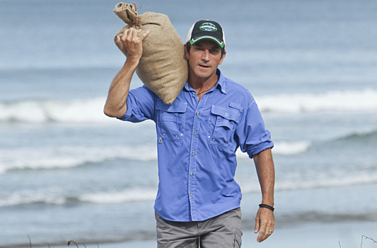 Probst with rice on Survivor