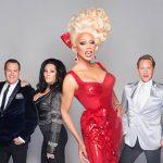 The RuPaul's Drag Race judges: Ross Matthews, Michelle Visage, RuPaul, and Carson Kressley