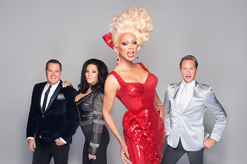 The RuPaul's Drag Race judges: Ross Matthews, Michelle Visage, RuPaul, and Carson Kressley