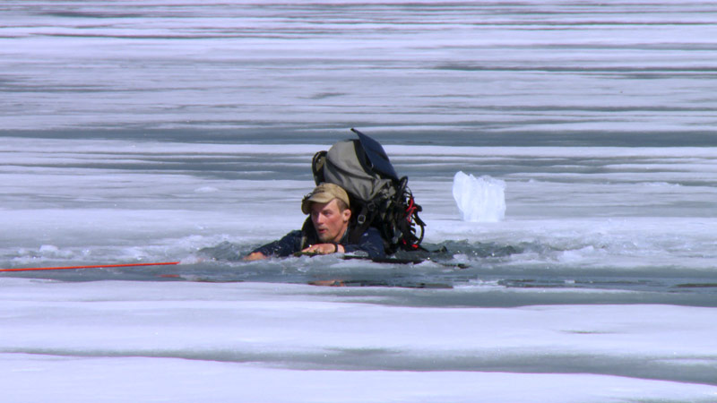 Ultimate Survival Alaska's Dallas Seavey in a frozen lake