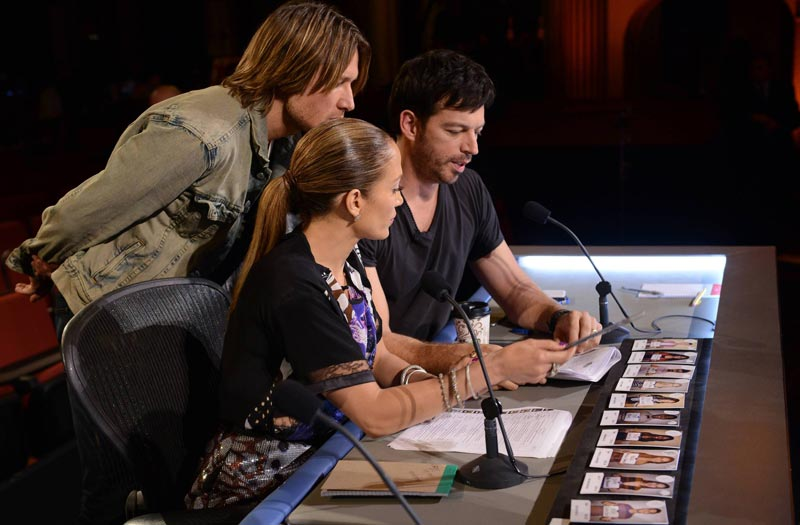 American Idol Hollywood Week judges Keith Urban, Jennifer Lopez and Harry Connick, Jr.