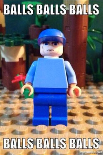 Jeff Probst balls meme LEGO