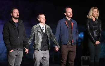 Face Off 9 finalists Evan Hedges, Nora Hewitt, and Ben Ploughman, host McKenzie Westmore