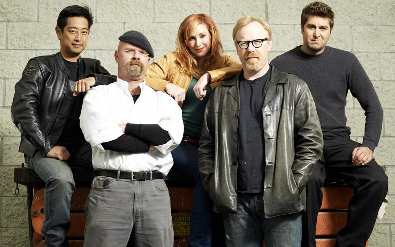 Mythbusters Holiday Mega Marathon cast holiday mega marathon Grant Imahara, Jamie Hyneman, Kari Byron, Adam Savage, Tory Belleci