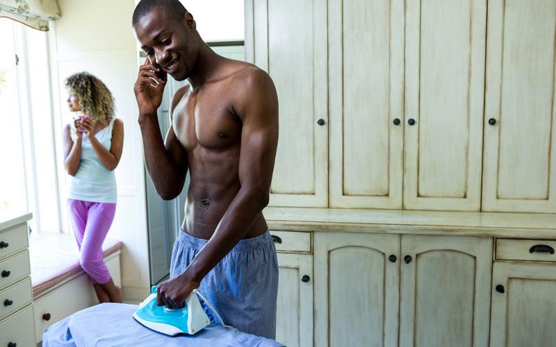 man ironing, woman thinking, Phone Stories