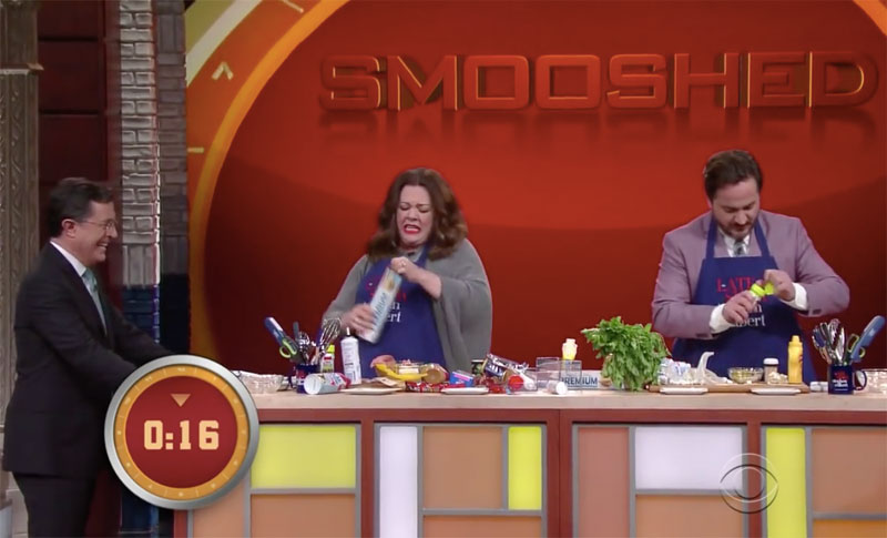 Smooshed, Chopped, Stephen Colbert, Melissa McCarthy, Ben Falcone