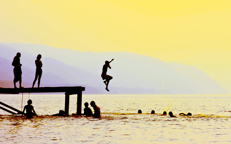 jumping into lake, summer, thanks