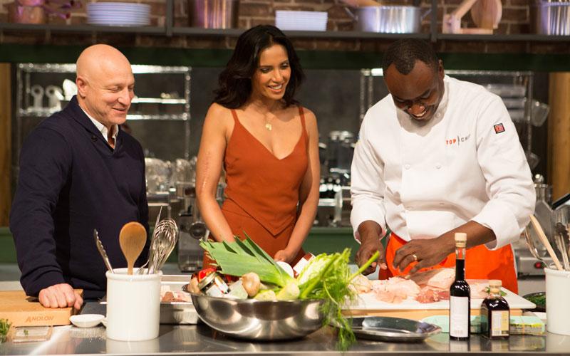 Top Chef Charleston, Tom Colicchio, Padma Lakshmi, and Gerald Sombright