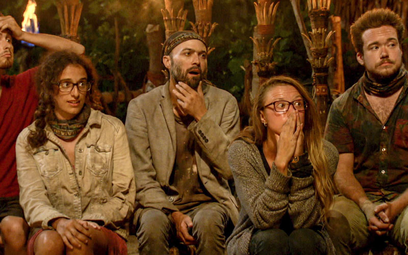 Survivor, Million Dollar Gamble, Tribal Council, Hannah, David, Jessica, and Zeke