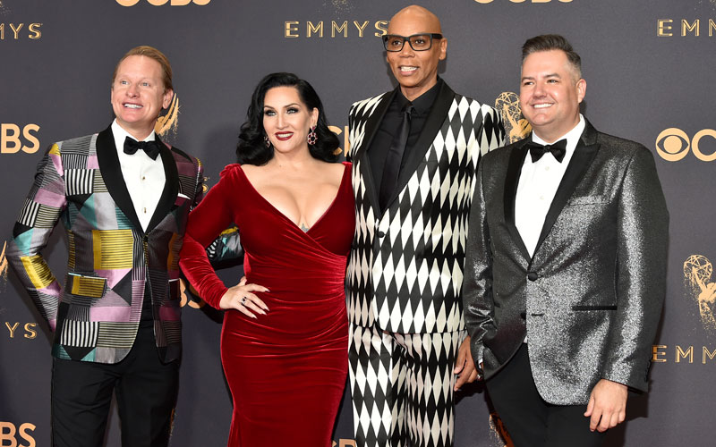 Carson Kressley, from left, Michelle Visage, RuPaul, Ross Mathews, RuPaul's Drag Race, 69th Emmys 2017