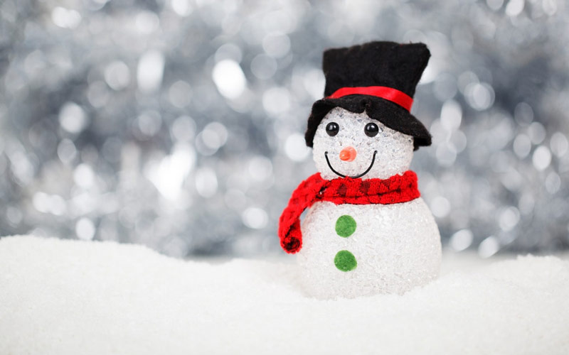 snowman with a hat and scarf