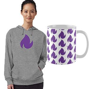 reality blurred dancing fire logo shirt, mug