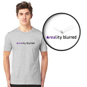 reality blurred logo shirt, clock
