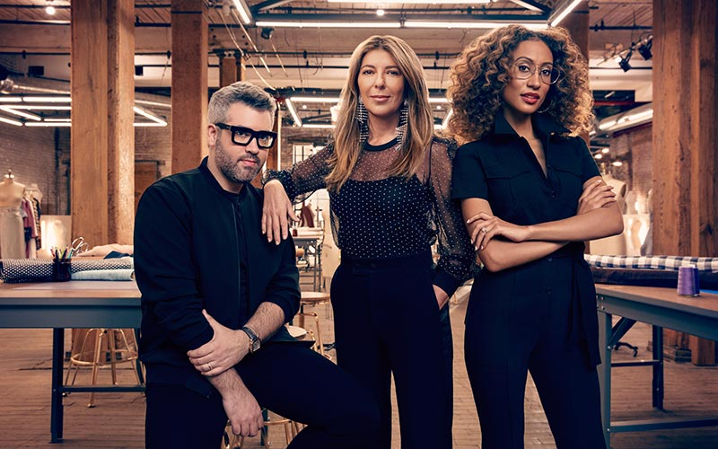 Project Runway season 17 judges Brandon Maxwell, Nina Garcia, and Elaine Welteroth
