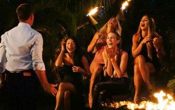Temptation Island bonfire, Mark L. Walberg, Shari Ligons, Kady Krambeer, Kaci Campbell, Nicole Tutewohl