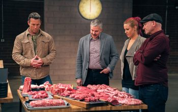 The Butcher host Colby Donaldson and judges Michael Sullivan, Roxanne Sullivan, and Dave Budworth