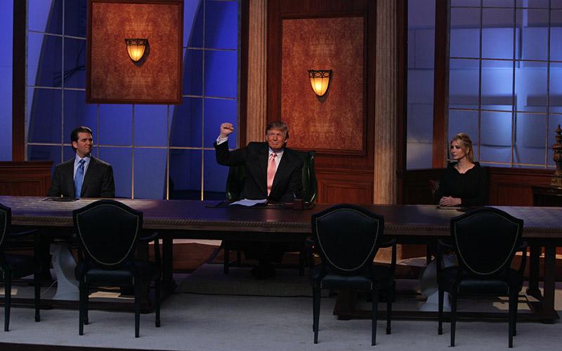 Donald Trump Jr, Donald Trump, and Ivanka Trump at an Apprentice live finale