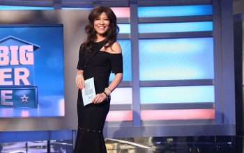 Julie Chen on the set of the Celebrity Big Brother 2 finale
