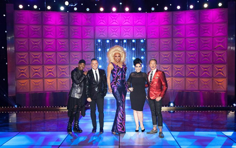 Todrick Hall, Ross Matthews, RuPaul, Michelle Visage, and Carson Kressley during RuPaul's Drag Race season 10