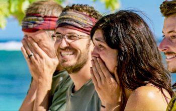 Survivor: Edge of Extinction episode 12 loved ones reward challenge, Ron Clark, Rick Devens, Lauren O'Connell and Gavin Whitson