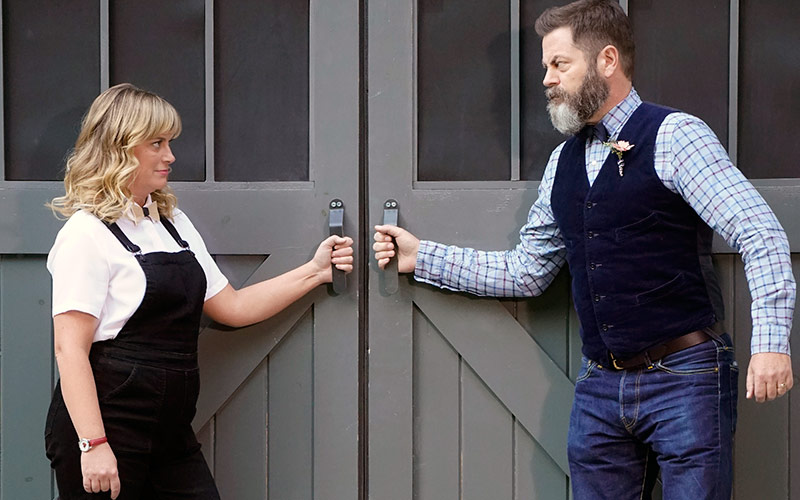 Amy Poehler and Nick Offerman on the finale of Making It! season one