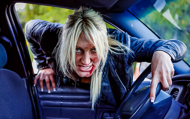 "Brooke Hogan playing a zombie on the Scare Tactics episode ""Driver's Dead"""