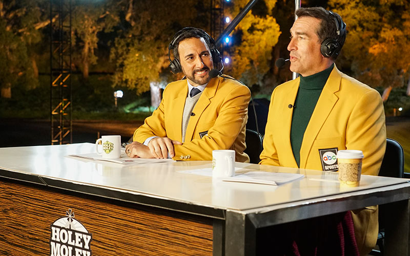 Holey Moley hosts and commentators Joe Tessitore and Rob Riggle
