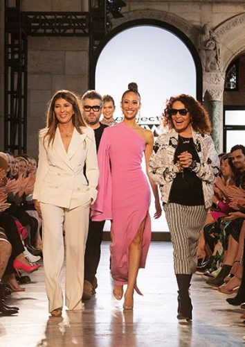 Project Runway season 17's judges Nina Garcia, Brandon Maxwell, Elaine Welteroth, and guest judge Diane von Fürstenberg on the finale runway