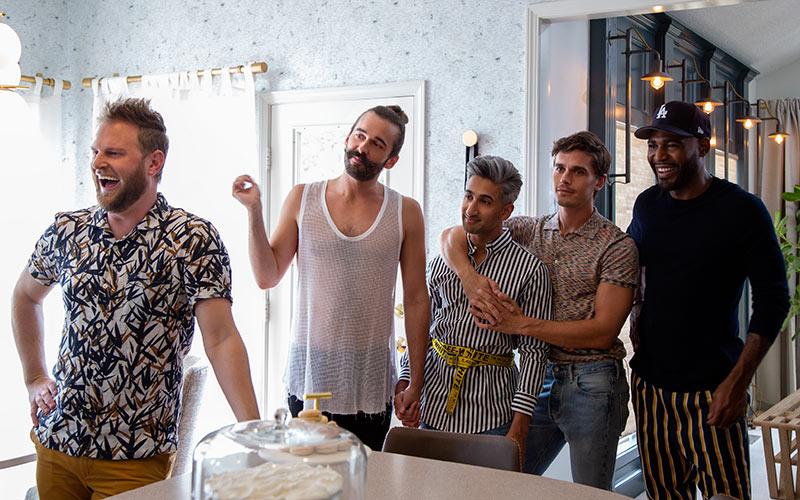 Bobby Berk, Jonathan Van Ness, Tan France, Antoni Porowski, and Karamo Brown in Queer Eye season 3, episode 6