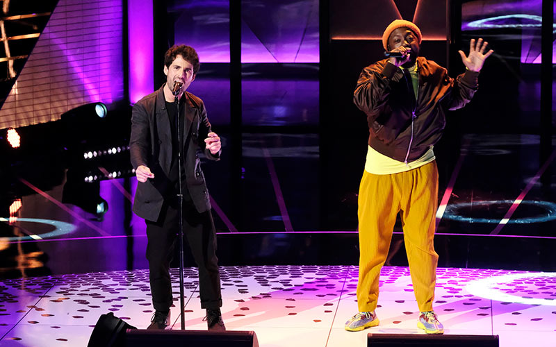 will.i.am performs with songwriter Adam Friedman