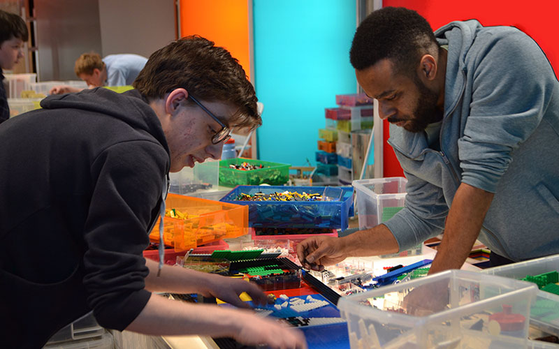 Lego Masters series 2 team Tom and Nathan work on a challenge
