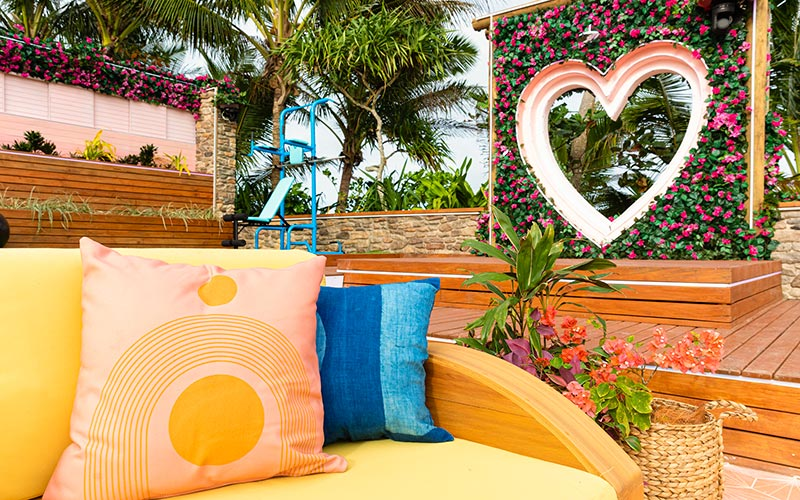 Love Island villa couch and heart