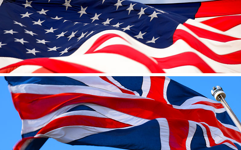 Flag of the United States of America and flag of the United Kingdom