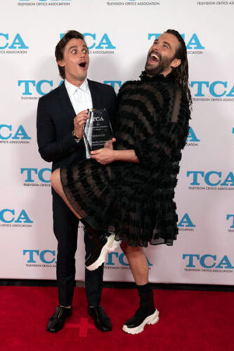 Queer Eye stars Antoni Porowski and Jonathan Van Ness with their 2019 TCA Award for outstanding reality program