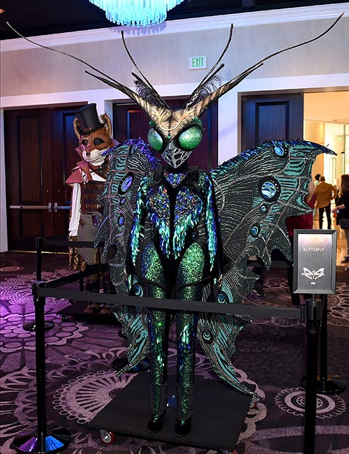 The Butterfly from The Masked Singer season 2, on display at the Television Critics Association's summer press tour