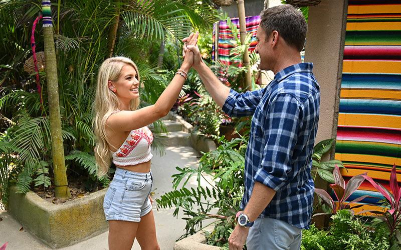 Demi Burnett and Chris Harrison on the premiere of Bachelor in Paradise season 6