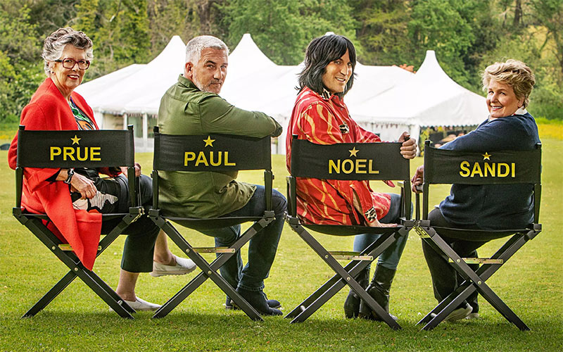 Great British Baking Show judges Prue Leith and Paul Hollywood, and hosts Noel Fielding and Sandi Toksvig.