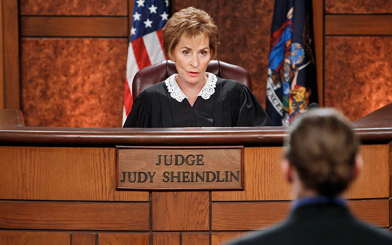 Judith Sheindlin, aka Judge Judy, during a 2014 episode of her syndicated courtroom reality show
