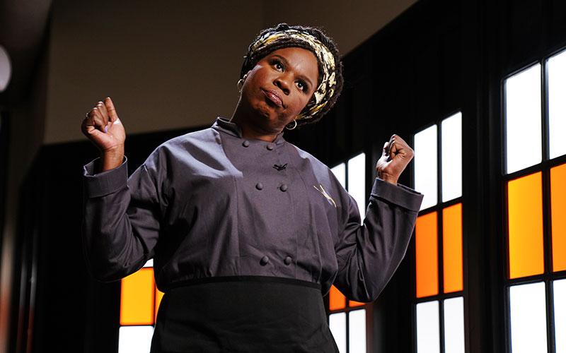Leslie Jones playing a Chopped contestant on Saturday Night Live's penultimate episode of SNL's 44th season
