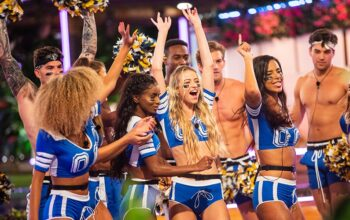 The Love Island cast in cheerleading outfits