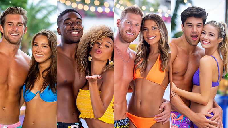 "The final four Love Island couples: Dylan Curry and Alexandra Stewart, Ray Gantt and Caroline ""Caro"" Viehweg, Weston Richey and Emily Salch, and Zac Mirabelli and Elizabeth Weber"