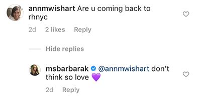 Barbara Kavovit's comment on Instagram
